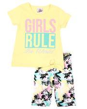 La Galleria - 2 Pc Girls Rule Tie Front Top & Star Print Bike Shorts Set (2T-4T)-2638616