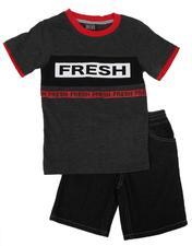 Arcade Styles - 2 Pc Fresh Print T-Shirt & Denim Shorts Set (4-7)-2636543