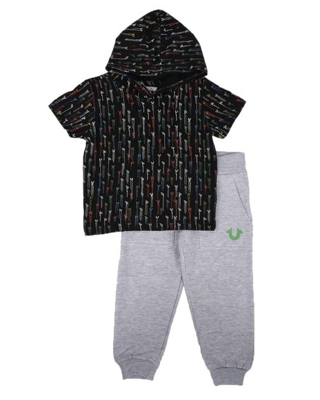 True Religion - 2 Pc Drip All Over Print Hooded T-Shirt & Jogger Pants Set (2T-4T)