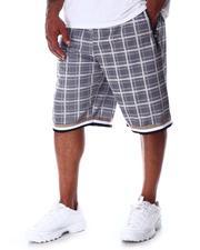 Big & Tall - Plaid Printed Scuba Shorts (B&T)-2640532