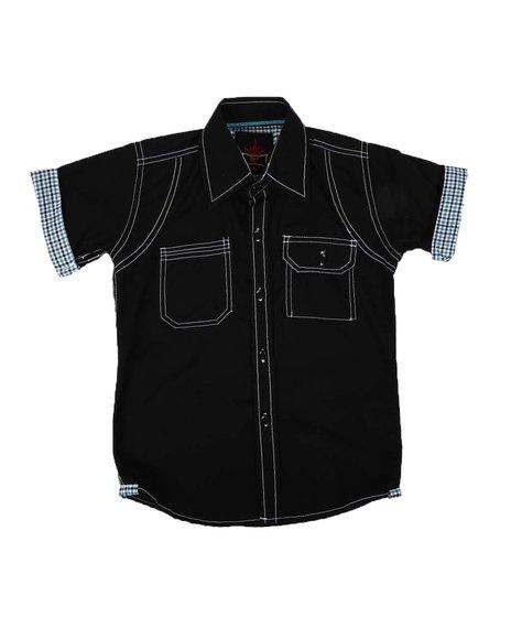 Arcade Styles - Plaid Roll Cuff Button Down Shirt (2-8)