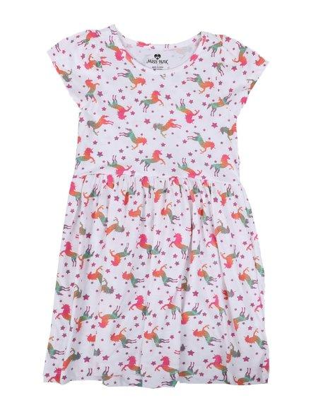 La Galleria - Unicorn Print Cap Sleeve Dress (7-16)