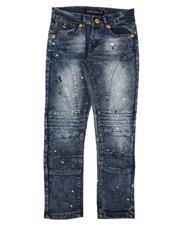 Arcade Styles - Skinny Fit Paint Splatter Moto Jeans (8-18)-2639282