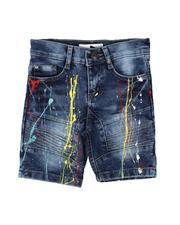Sizes 2T-4T - Toddler - Paint Splatter Moto Denim Shorts (2T-4T)-2639664