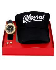 Accessories - 3 Pc Watch/Blessed Cap & 8MM Studs Set-2641105