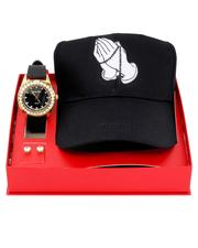 Accessories - 3 Pc Watch/Praying Hands Cap & 8MM Studs Set-2641107