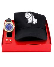 Accessories - 3 Pc Watch/Praying Hands Cap & 8MM Studs Set-2641109