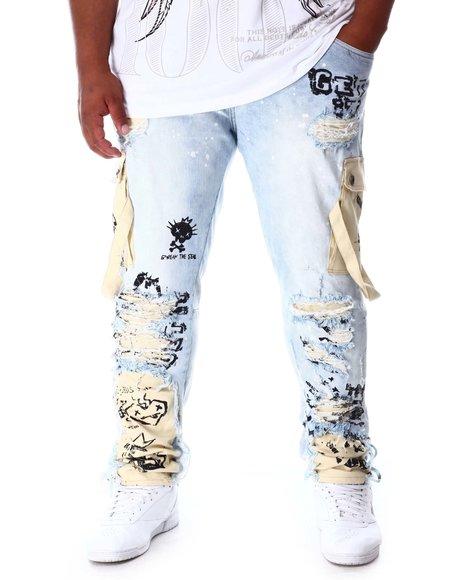 SMOKE RISE - Cargo Pocket Denim Jeans (B&T)