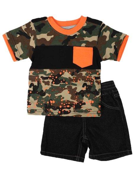 Arcade Styles - 2 Pc Camo Tee & Denim Short Set (Infant)