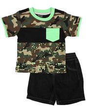 Arcade Styles - 2 Pc Camo Tee & Denim Short Set (Infant)-2636657