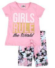 La Galleria - 2 Pc Girls Rule Tie Front Top & Star Print Bike Shorts Set (2T-4T)-2638629