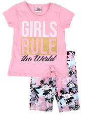 La Galleria - 2 Pc Girls Rule Tie Front Top & Star Print Bike Shorts Set (4-6X)-2638633