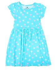 Sizes 7-20 - Big Kids - Butterfly Print Cap Sleeve Dress (7-16)-2638890