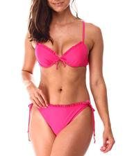 Swimwear - Ruffle Neckline Padded Push Up Cup Bralette/Ruffle Tie Side Bikini Bottom-2638410