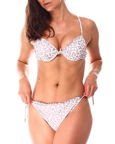 XOXO - Ruffle Neckline Padded Push Up Cup Bralette/Ruffle Tie Side Bikini Bottom