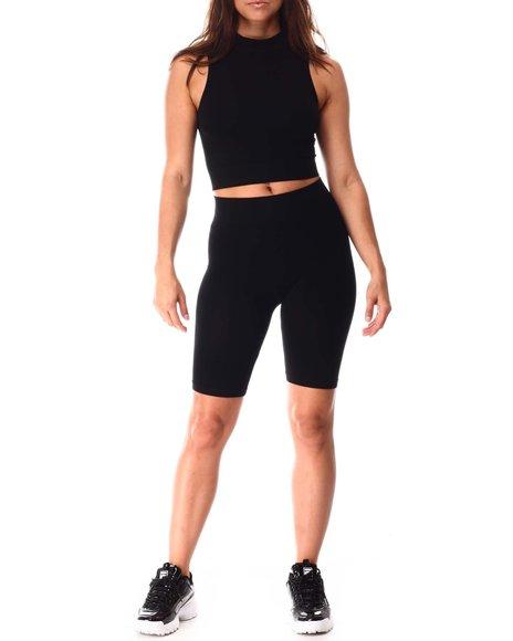 Fashion Lab - Sleeveless Mock Neck Crop & Bike Short