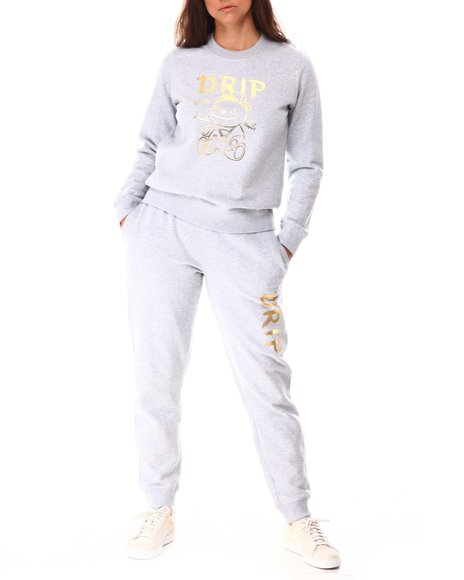Fashion Lab - Foil Sweatshirt Jogger Set