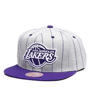 Mitchell & Ness - Los Angeles Lakers Grey Pin Pop Snapback Hat-2641763