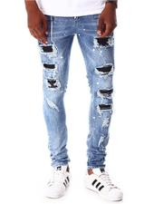 Jeans - Paint Splatter Moto Backed Ripped Jean-2642814