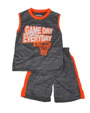 Arcade Styles - 2 Pc Game Day Marled Muscle Tee & Shorts Set (8-20)-2641080