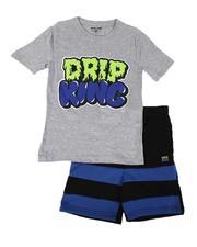 Arcade Styles - 2 Pc Drip King Tee & Fleece Shorts Set (8-20)-2640755