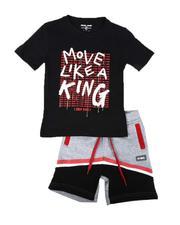 Arcade Styles - 2 Pc Move Like A King Tee & Fleece Shorts Set (4-7)-2641004