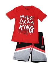 Arcade Styles - 2 Pc Move Like A King Tee & Fleece Shorts Set (8-20)-2641067