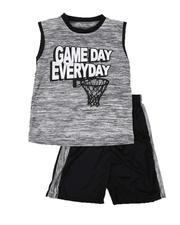 Arcade Styles - 2 Pc Game Day Marled Muscle Tee & Shorts Set (8-20)-2641072