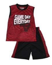 Arcade Styles - 2 Pc Game Day Marled Muscle Tee & Shorts Set (8-20)-2641084