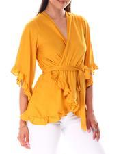 Short-Sleeve - Faux Wrap Blouse-2644784