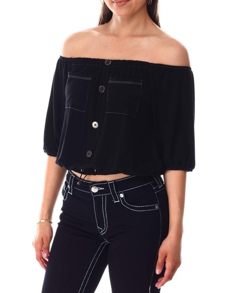 Fashion Lab - Off The Shoulder Faux Button Front Top W/Pockets And Bungee Draw Cord