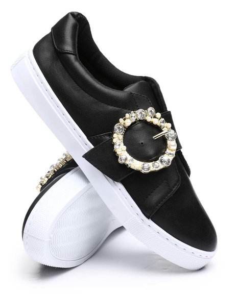 Fashion Lab - Embellished Buckle Sneakers