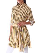 Dresses - Tie Front  Smock Back Shirt Dress-2644829