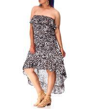 Dresses - Ruffle Strapless High low Dress (Plus)-2634637