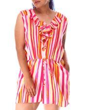 Fashion Lab - Ruffle Front Stripe Romper (Plus)-2634649