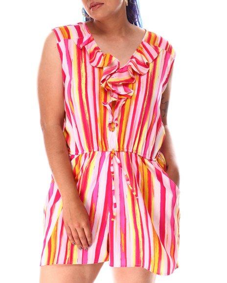 Fashion Lab - Ruffle Front Stripe Romper (Plus)