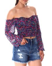 Fashion Tops - Under Wire Ruched Corset Peasant Top-2644919
