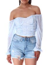 Fashion Tops - Under Wire Ruched Corset Peasant Top-2644929