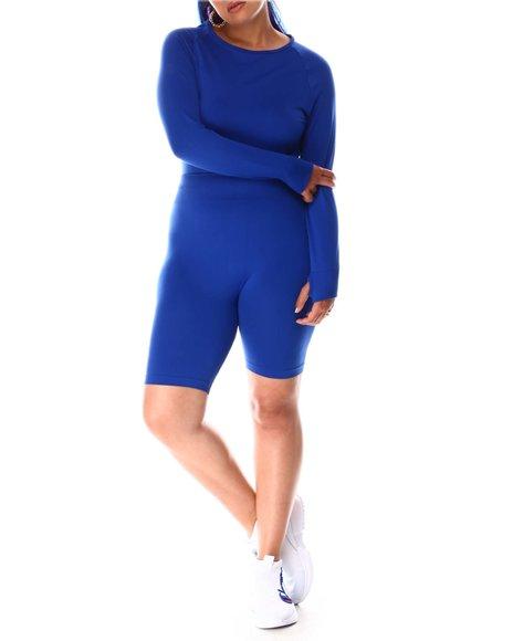 Fashion Lab - Long Sleeve Crop W Thumb Hole And Bike Short (Plus)