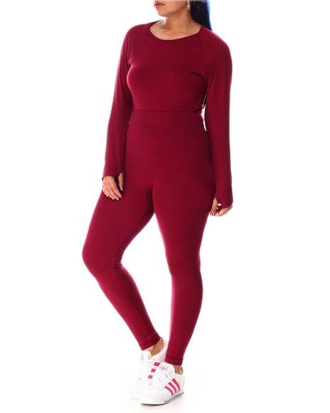 Fashion Lab - Long Sleeve Crop W/Thumb Hole  and Legging (Plus)
