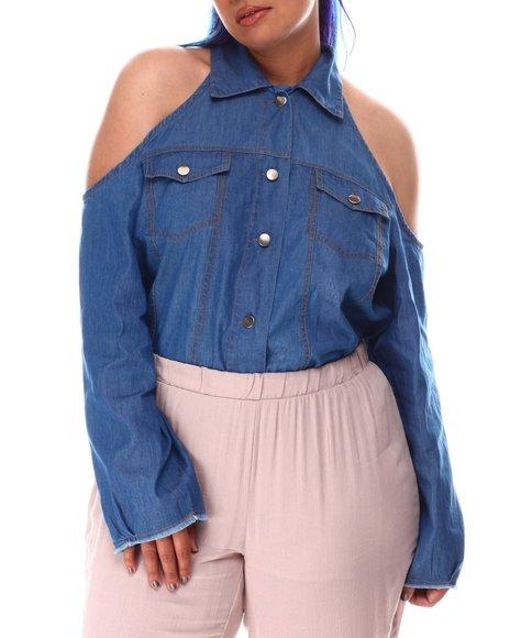 Fashion Lab - Dark Wash Cold Shoulder Denim Shirt Button Front (Plus)