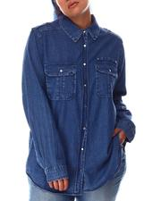 Fashion Lab - Denim Shirt W/Epaulets Hardware Detail Cargo Pocket (Plus)-2645052