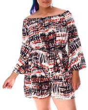 Fashion Lab - Off Shoulder Tie Dye Romper (Plus)-2645056