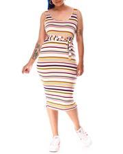 Dresses - S/L Stripe Dress W/Self Belt-2640870
