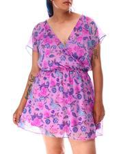 Dresses - V Neck Floral Print Mini Dress (Plus)-2634641