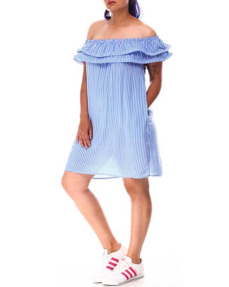 Fashion Lab - Off Shoulder Ruffle Stripe Mini Dress (Plus)