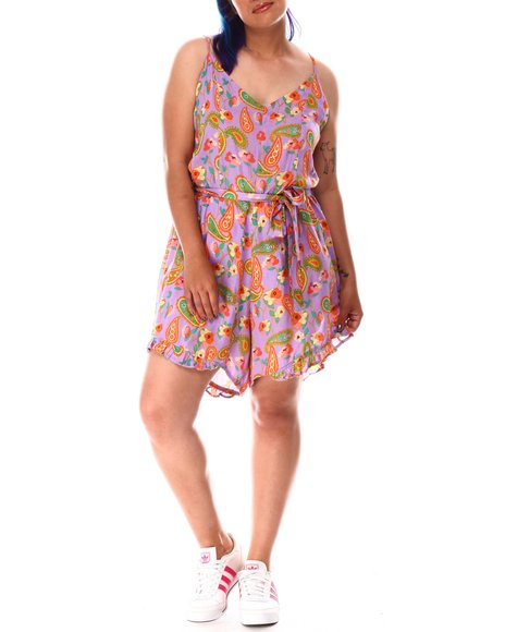 Fashion Lab - Paisley Print Belted Cami Romper ( Plus)