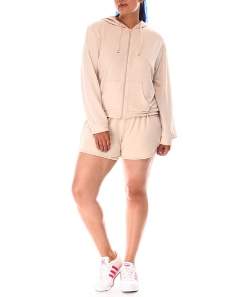 Fashion Lab - Zip Hoodie And Dolphin Short  (Plus)