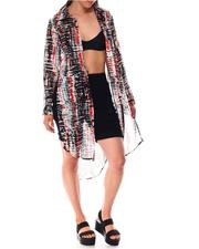 Fashion Tops - Printed Roll Cuff Duster-2644854