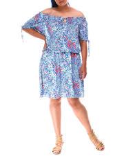 Dresses - Floral Off Shoulder Dress (Plus)-2634633